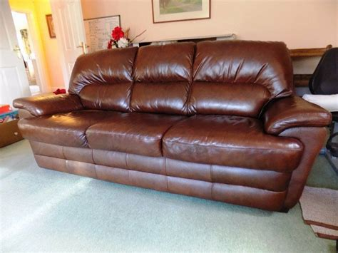 scs settees scs brown leather 3 seat settee sofa in gloucester