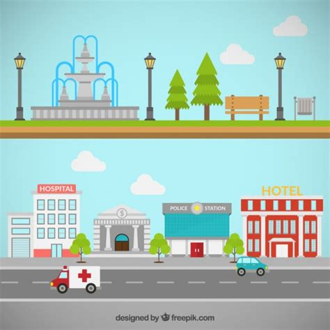 city park and buildings vector free download