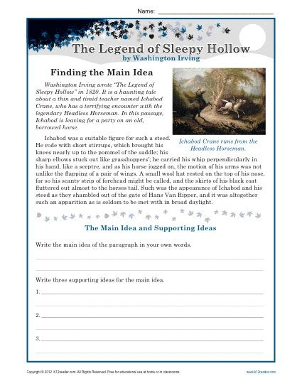 reading passages for 6th grade the legend of sleepy hollow lesson plans worksheets review ebooks