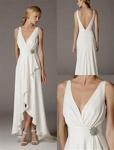 2016 sexy simple deep v neck ruffle satin informal wedding With simple informal wedding dresses