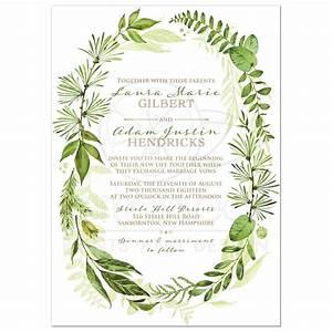 Greenery Foliage Wedding Invitation Watercolor Leaves