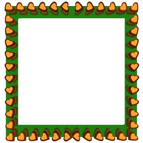 3d Border Picture by Orange Hearts Reflection On Green Square Border 3d