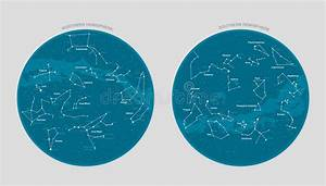 Northern Hemisphere Constellations  Star Map  Stock