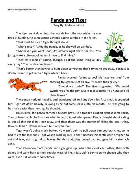 Panda And Tiger  Reading Comprehension Worksheet