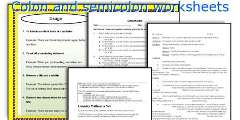 colon and semicolon worksheets