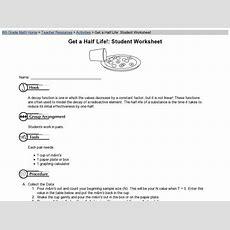 Get A Halflife Student Worksheet Worksheet For 6th  8th Grade  Lesson Planet