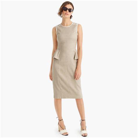 jcrew peplum dress  stretch linen  natural lyst