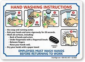 Employees Hand Washing Instruction Steps Sign  Sku  S2