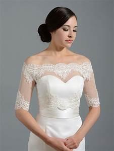 Off shoulder dot lace bolero wedding jacket for Wedding dress shrug