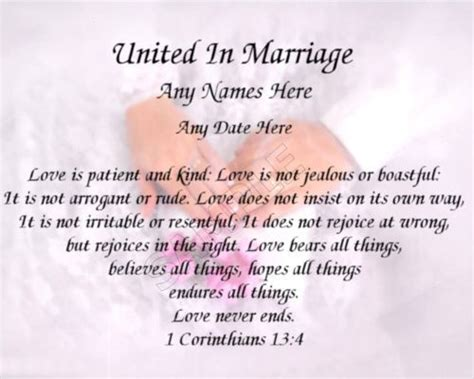 united in marriage personalized art poem wedding gift ebay quilt labels wedding ring quilt