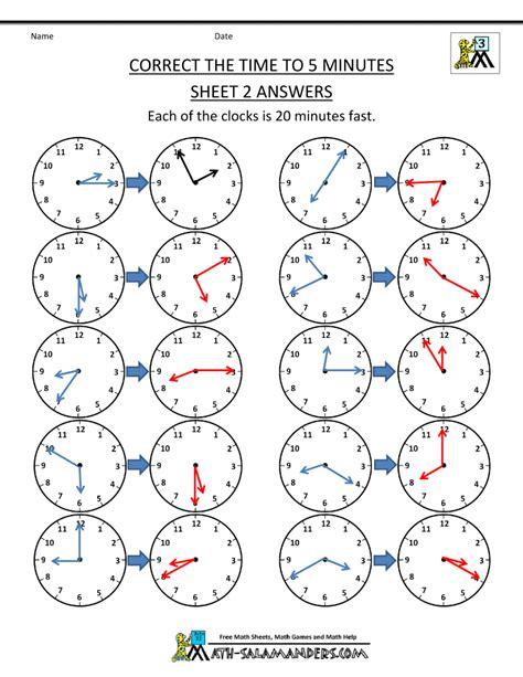 telling time clock worksheets   minutes