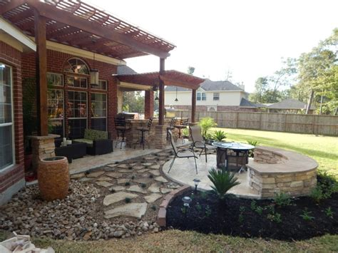 pergola firepit outdoor kitchen heat up houston patio