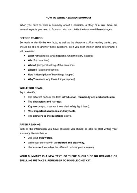 how to write a good summary