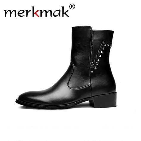 Merkmak Rivet Zipper Ankle Boots Autumn Leather Martin