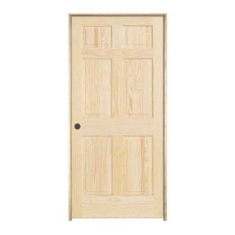 home depot prehung interior doors jeld wen 24 in x 80 in woodgrain 6 panel unfinished pine single prehung interior door 774569
