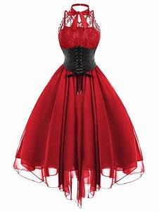 Vintage Dresses Red 2xl Gothic Cross Back Lace Panel