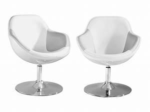 Fauteuil design blanc et argent pearl lot de 2 fauteuil for Fauteuil design blanc