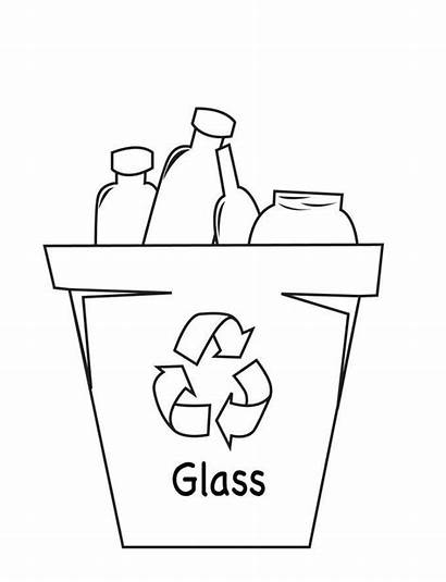 Recycle Coloring Glass Pages Recycling Drawing Recycled