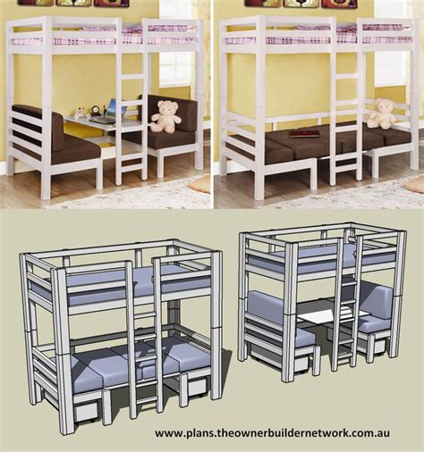 bunk bed desk combo plans woodworking projects plans