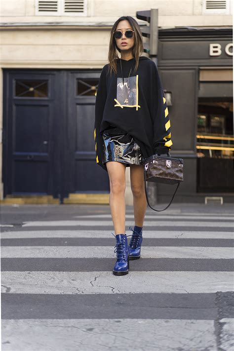 Oversized Hoodie and Patent Leather Skirt in Paris   Song of Style