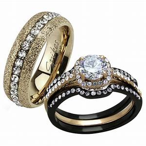 st2020 rh78486 stainless steel his hers 4 pc black With black gold wedding rings his and hers