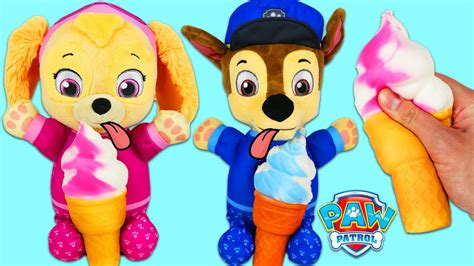 Paw Patrol Cute Baby Chase And Baby Skye Eat Fluffy Ice