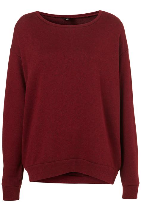 how to sweater topshop basic curve hem sweater in purple burgundy lyst