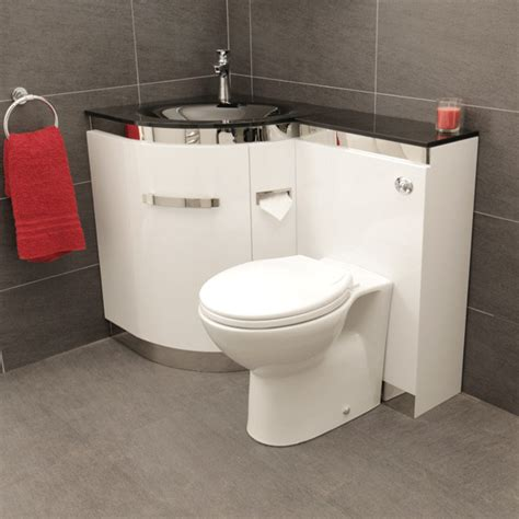 toilet and basin combined ligo left hand corner combination unit with black basin