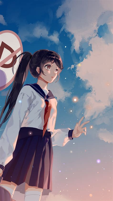Anime Illustration Wallpaper - bc66 school anime sky cloud