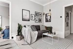 Tapis Noir Et Blanc Scandinave : d coration murale salon scandinave ~ Teatrodelosmanantiales.com Idées de Décoration
