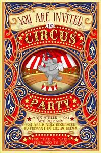 Circus Party Invitation Vintage - Image Illustration