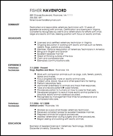 veterinary technician resume sle