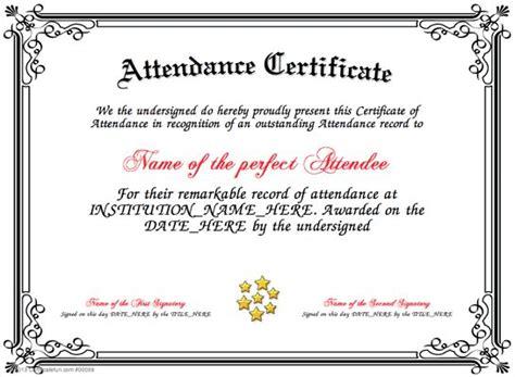 attendance present  attendance certificate   person
