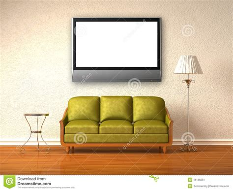 Olive Couch, Table And Stand Lamp With Lcd Tv Stock Image