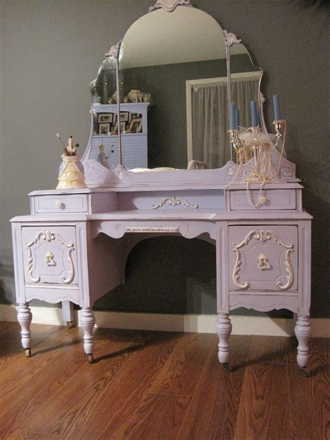 lovely antique vanity done in pale bluish lavender white