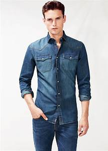 Mango Classic-Fit Dark Denim Shirt in Blue for Men | Lyst