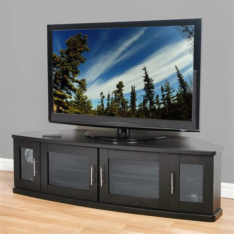 Large Corner Tv Cabinet With 4 Glass Doors And Silver