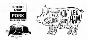 Cut Of Meat Set Poster Butcher Diagram Scheme And Guide Pork Vintage Typographic Handdrawn On A