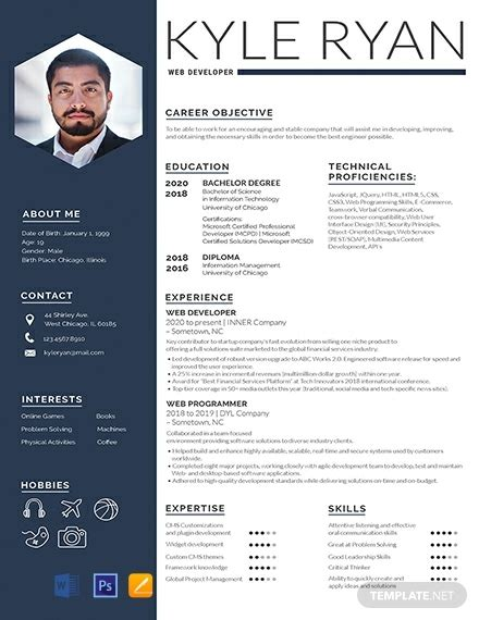Sle Resume With Picture Template by Free Web Developer Resume Template Word Psd Indesign