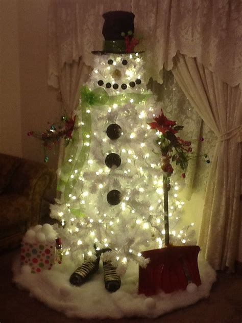 white christmas tree snowman  christmas pinterest