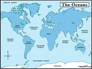 Map Of The World And Seas - HolidayMapQ.com