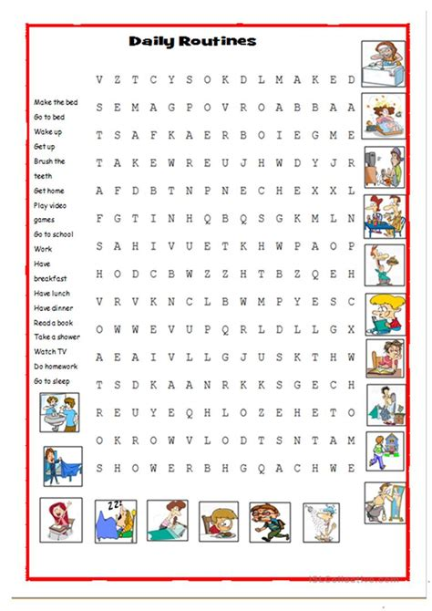 daily routines picture dictionary  wordsearch english