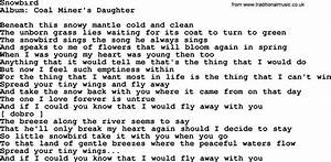 Loretta Lynn song: Snowbird, lyrics