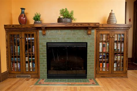 classic arts crafts fireplace craftsman living room