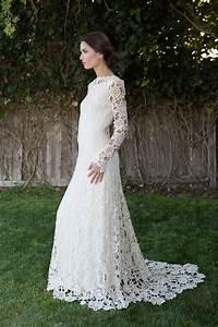 Low Back Crochet Lace Wedding Dress Bohemian Wedding