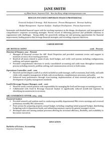 corporate finance resume exles corporate finance resume