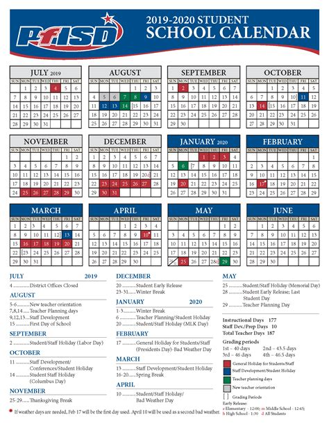 school year calendar district calendar