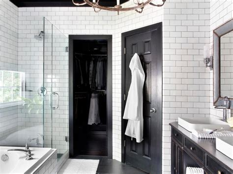 black white and silver bathroom ideas timeless black and white master bathroom makeover hgtv