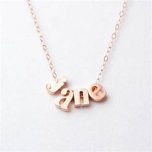 solid 14k rose gold name necklace personalized lowercase With letter name necklace