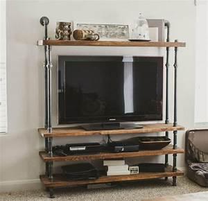 Meuble Tv Etagere : le meuble tv style industriel en 50 images ~ Teatrodelosmanantiales.com Idées de Décoration